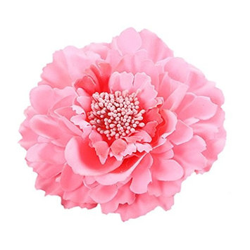 DZT1968 Women Girl 28 colors Flower Peony Hair Clips gorgeous Wedding Bridal Bridesmaid Prom Festival Hairpin Brooch (shrimp red)