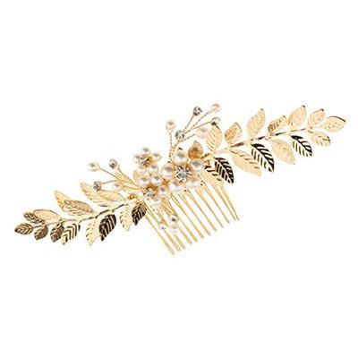 B Blesiya Gold Leaves Bridal Hair Comb Rhinestone Pearls Bridesmaid Pin Clip Accessory
