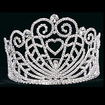 Girl Silver Heart Swirls Pageant Quinceanera Communion Tiara Headpiece