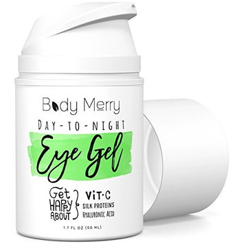 Body Merry Day-to-Night Eye Gel: Anti aging treatment with natural Hyaluronic Acid + Vitamin C to lift and combat dark circles, puffy eyes, fine lines for men/women - can be used w cream or makeup