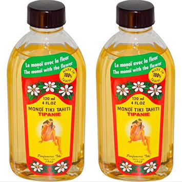Monoi Tiki Tahiti Tipanie Frangipani Coconut Oil (Pack of 2), Scented With Fresh Handpicked Tiare Flowers, 100% Made in Tahiti, 4 fl. oz.