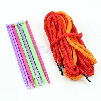 EA-STONE 7 pcs DIY Multicolor Handle Aluminum Crochet Hooks Knitting Needles Craft Set Weave Yarn