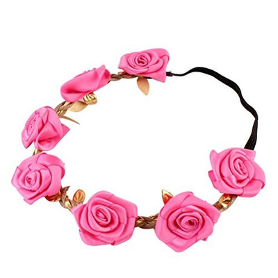 Frcolor Flower Crown Headband, Rose Flower Headpiece Floral Garland Decorations For Wedding, Party, Festival, Birthday (Rose Red)