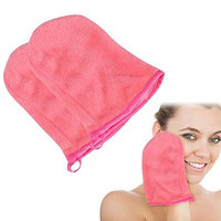 SoarUp Reusable Soft Microfiber Makeup Remover Gloves Face Cleaning Towel Makeup Remove Cloth Spa Mitts Facial Cleaning Tools Pack of 2 Pink