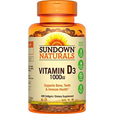 6 Pack Sundown Naturals Vitamin D3 1000IU Dietary Supplement 400 Softgels Each