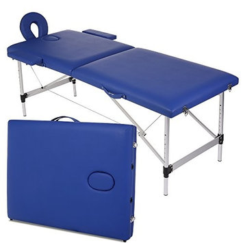 Modrine Portable Massage Table-Massage Table Portable Facial SPA Bed-Two-fold (Blue)