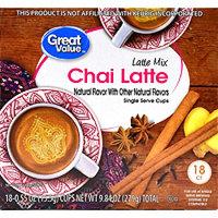 Walmart Stores Inc Great Value Chai Latte Mix Single Serve Cups, 18 Count