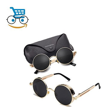 Father's Day Gifts Prime Sale Day Deals Week 2018-Vintage Steampunk Retro Metal Round Circle Frame Sunglasses (Black G
