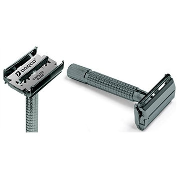 Men's Classic Double Edge Safety Razor with Butterfly Top for a Premium Shave - includes a BONUS Double Edge Stainless Razor Blade