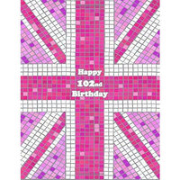Happy 102nd Birthday: Pink Union Jack Themed Notebook, Journal, Diary, 105 Lined Pages, Cute Birthday Gifts for 102 Year Old Women, Mom, Great Grandma, Best Friend, Book Size 8 1/2