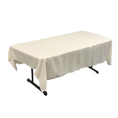 LA Linen TCpop60x90-IvoryP25 Polyester Poplin Rectangular Tablecloth Ivory - 60 x 90 in.