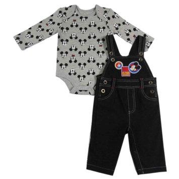 Fisher-price Disney Mickey Mouse Infant Boys 2-Piece Denim Overalls & Bodysuit Set 3-6m