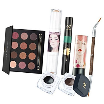 Dovewill 7Pcs/set 12 Colors Eyeshadow Palette Face Contour Eye Lip Cosmetic Gift Kit