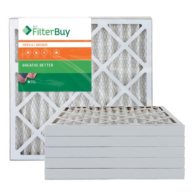AFB Bronze MERV 6 21x22x2 Pleated AC Furnace Air Filter. Filters. 100% produced in the USA. (Pack of 6)