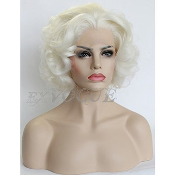 Exvogue Short Wavy Blonde Wig Celebrity Style Lace Front Wigs for Women Free Part Heat Friendly Synthetic 100% Fiber Hair