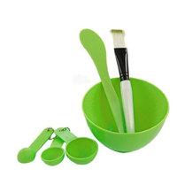 uxcell Lady 4 in 1 DIY Facial Mask Mixing Bowl Brush Set Green
