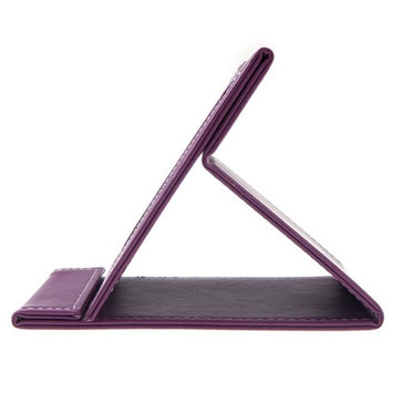 Anself Makeup Mirror Travel Leather Portable Foldable Makeup Mirror (Purple)