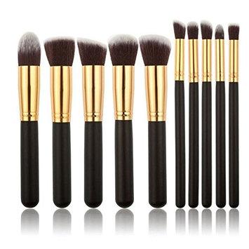 CoKate Cosmetic Makeup Brush Brushes Set Foundation Powder Eyeshadow,10PCS Gold&Black