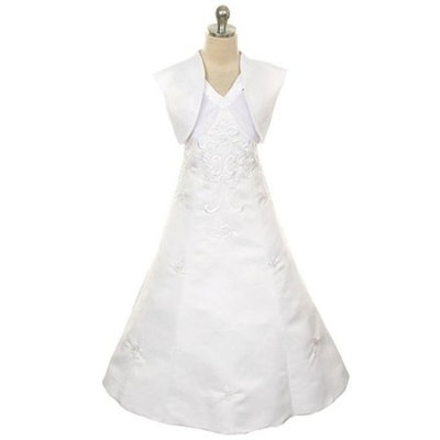 Rain Kids Girls 14 White Sequin Floral Special Occasion Dress