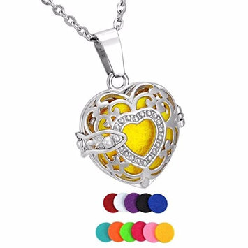12 Pads Treaured Heart Essential Oil Diffuser Aromatic Perfume Necklace