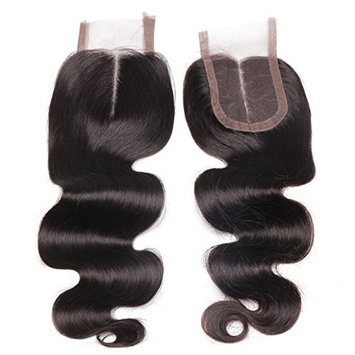 ALi Queen Hair Brazilian Middle Part Body Wave Lace Closure Bleached Knots 4x4 Swiss Lace Closure with Baby Hair (16 inches)
