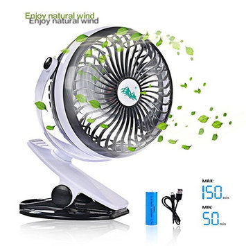 TOMOTO Mini Battery Operated Clip Fan,Sall PortHle Fan Powered by RechargeHle Battery or USB Desk Personal Fan for BHy Stroller Car Gym Workout Camping,Black