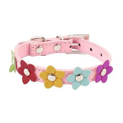 Faux Leather Adjustable Buckle Puppy Pet Dog Neck Collar Belt Strap Pink Size XS