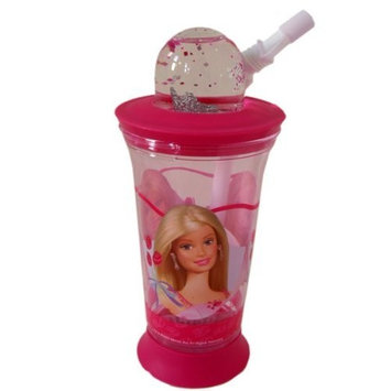 Beautiful Barbie Girls water botte with crown snow gloves andflex straw