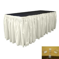 LA Linen SkirtBridal30X29-15Lclips-IvoryB25 Bridal Satin Table Skirt with 15 L-Clips Ivory - 30 ft. x 29 in.