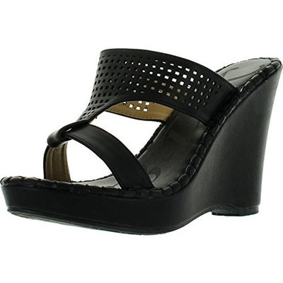 DbDk Kayleen EVIE-2 Women's Patent Silde On Platform High Heel Wedge Sandals []