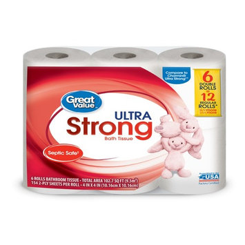 Great Value Bath Tissue, Ultra Strong, 6 Count