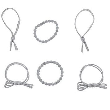 Lux Accessories Assorted Metallic Silvertone Elastic Hair Tie Set (6pcs)
