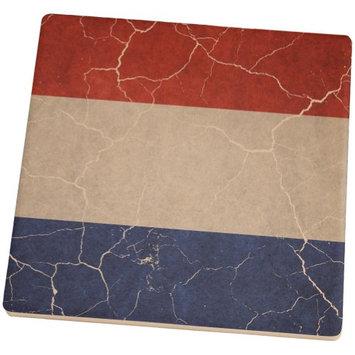 Old Glory Distressed Netherlands Flag Square Sandstone Coaster