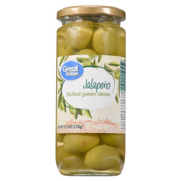 Camerican International Great Value Jalapeno Stuffed Green Olives, 9.5 oz