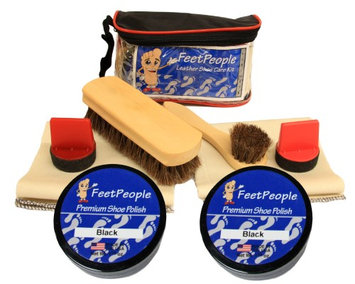 FeetPeople Ultimate Leather Care Kit with Travel Bag, Black