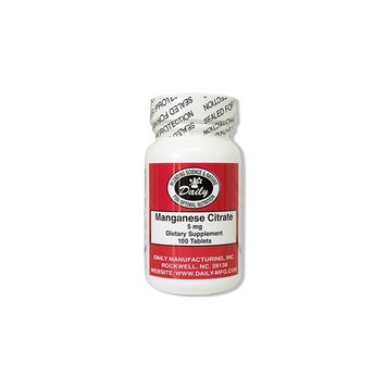 Daily Manufacturing Manganese Citrate 5 mg, 100 Tablets