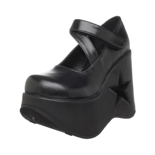 Trendy Goth 5 1/4 Inch Lift Shoe Star Cutout Platform Black Demonia