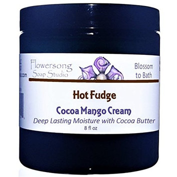 Blossom to Bath Hot Fudge Cocoa Mango Body Cream (8 oz) - Deep Rich Chocolate Flavor - Deep Lasting Moisture for Extra Dry Skin