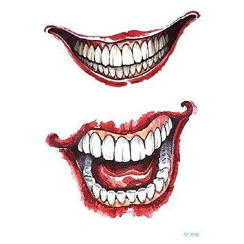 8 Sheets Fashion Halloween Temporary Tattoo Stickers Removable Waterproof Temporary Tattoo Art Stickers Pattern Type: Scars, Vampire Mouth, Bleeding Wounds