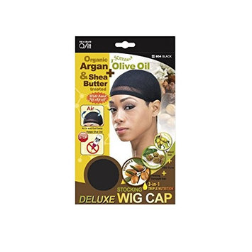 Organic Argan Olive Oil & Shea Butter Treated Deluxe Stocking Wig Cap #804 Black