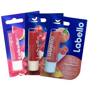 Labello Watermelon Shine, Labello Cherry Shine, Labello Peach Shine Lip Balm Bundle
