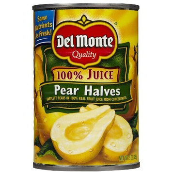 Del Monte Bartlett Pear Halves in 100% Real Fruit Juice, 15 oz, 12 pk