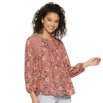Juniors' Rewind Mixed Print Peasant Top