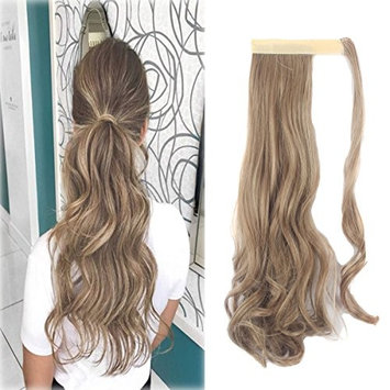 Focussexy Wrap Around Synthetic Ponytail One Piece Heat Resistant Magic Paste Pony Tail Long Straight Soft Silky for Women Lady Girls 18/ 24 inch