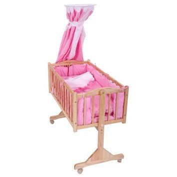 Wood Baby Cradle Rocking Bassinet Bed Sleeper Born Portable Nursery