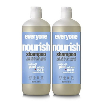 EO Everyone Sulfate Free Nourish Shampoo (Pack of 2) with Lemon Peel, Organic Aloe Barbadensis Leaf, Coconut Fruit Extract and Matricaria Flower, 20 fl. oz.