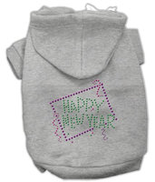 Mirage Pet Products 5435 SMGY Happy New Year Rhinestone Hoodies Grey S 10