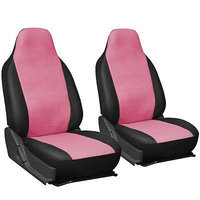 Istiloshoppe Car Accessories Faux Leather Car Seat Covers Pink Black 2pc Bucket Set w/Integrated Head Rests