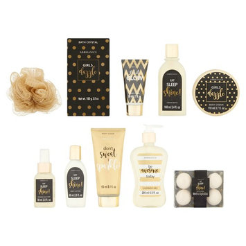 Black and Gold Bath & Body Gift Set & Cosmetic Bag, Sugar Frost, 11 Pieces