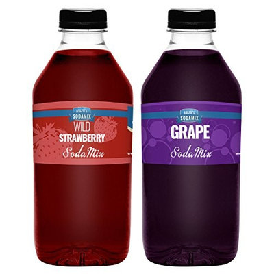 Ralph's 32oz (Quart) TWO Pack Sodamix Sparkling Drink Mix Flavors | Wild Strawberry | Grape